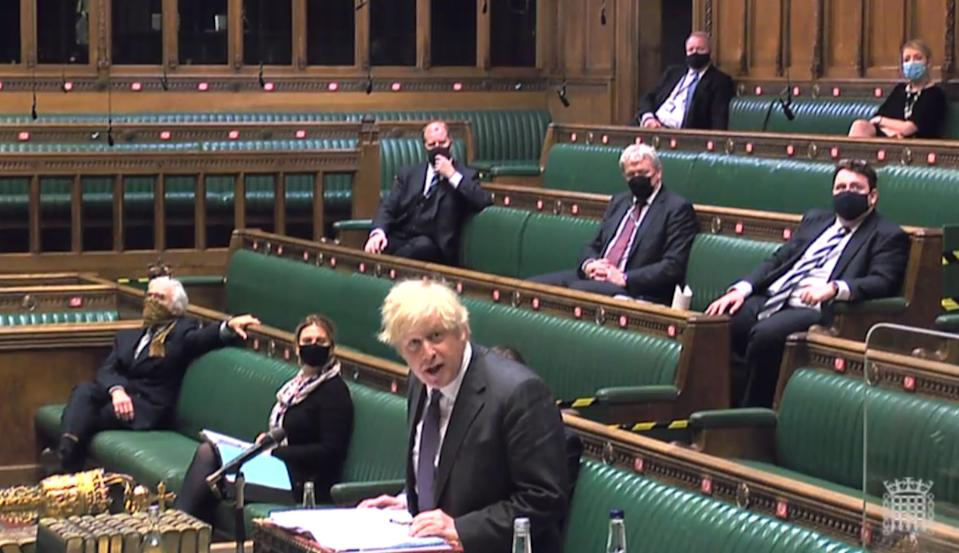 Prime Minister Boris Johnson speaks during Prime Minister's Questions in the House of Commons, London. Picture date: Wednesday January 20, 2021.