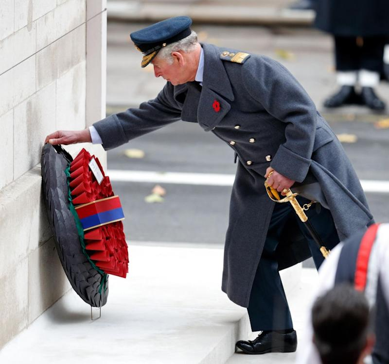 Prince Charles laid a wreath on behalf of his mother, The Queen. Photo: Getty Images