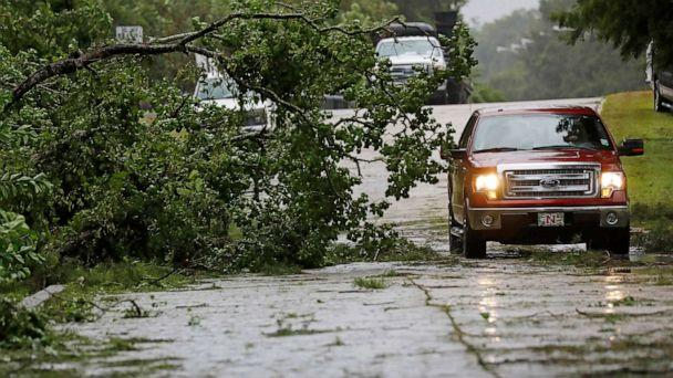 PHOTO:A truck maneuvers around a downed tree after strong wind gusts dropped it in west Morgan City, La., July 13, 2019. (Rogelio V. Solis/AP)