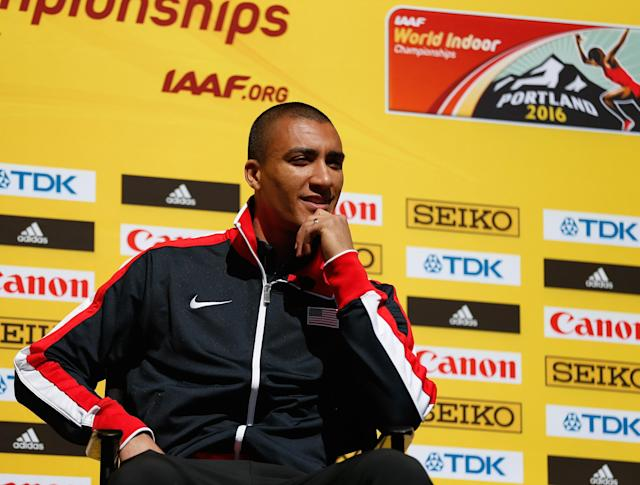 PORTLAND, OR - MARCH 17: Ashton Eaton of the United States attends the IAAF/LOC Press Conference at Pioneer Courthouse Square on March 17, 2016 in Portland, Oregon. (Photo by Christian Petersen/Getty Images for IAAF)