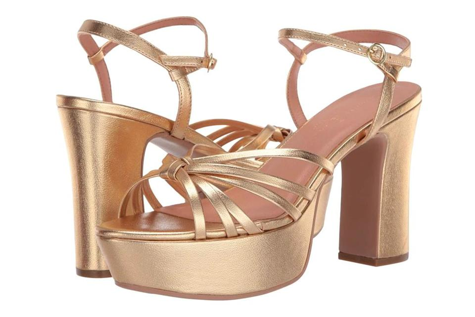 gold sandals, platforms, chinese laundry