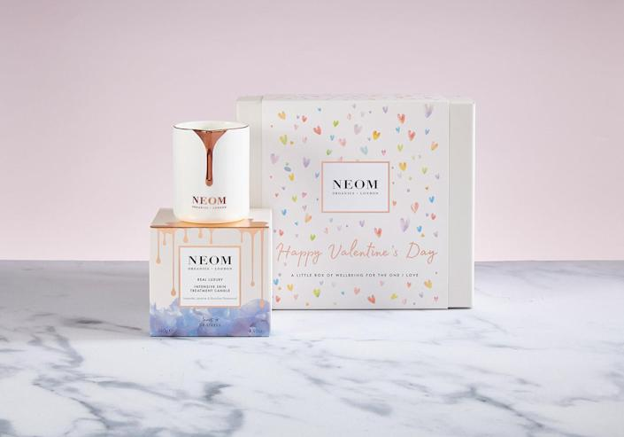 """<p>You multitask. Why shouldn't your candle? This NEOM skin treatment candle is an unexpected two-in-one: First you relax while it burns for 15-45 minutes, then, after waiting a few minutes, you use the oils from the melted candle on your face. </p> <p><strong>Buy It! </strong>Real Luxury Intensive Skin Treatment Candle, $46; <a href=""""https://us.neomorganics.com/products/real-luxury-intensive-skin-treatment-candle-1"""" rel=""""sponsored noopener"""" target=""""_blank"""" data-ylk=""""slk:us.neomorganics.com"""" class=""""link rapid-noclick-resp"""">us.neomorganics.com</a></p>"""
