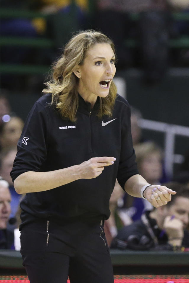 TCU head coach Raegan Pebley shouts to her players in the first half of an NCAA college basketball game against Baylor, Wednesday, Feb. 12, 2020, in Waco, Texas. (AP Photo/Jerry Larson)