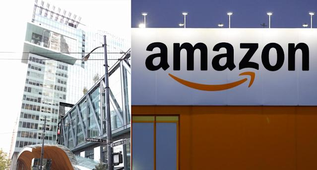 Amazon, whose Vancouver office is seen on the left in this composite image, is hiring a substantial number of people from the area. (Wikimedia/Reuters)