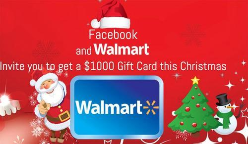 Ad offering a $1,000 Walmart gift card