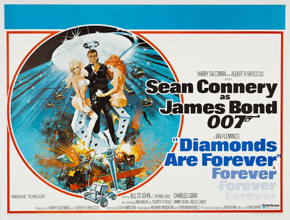 After the George Lazenby blip, producers tempted a bored-looking Connery back for one more payday. (Eon/MGM)