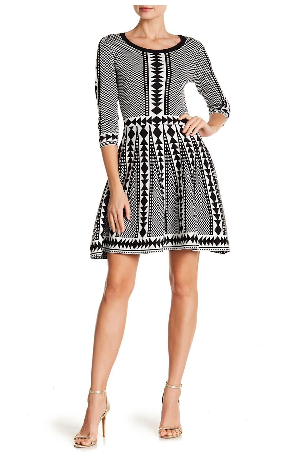 """<h2>Nina Leonard Geometric Print Sweater Dress</h2><br>With so many sheath-like, midi-length sweater dresses on the market right now, this dress really stands out. With a cute A-line mini skirt and an abstract print all over, it's no wonder it's so highly rated. <br><br><strong>The Hype:</strong> 4.5 out of 5 stars and 403 reviews on <a href=""""https://www.nordstromrack.com/s/nina-leonard-geometric-print-sweater-dress/5987029"""" rel=""""nofollow noopener"""" target=""""_blank"""" data-ylk=""""slk:NordstromRack.com"""" class=""""link rapid-noclick-resp"""">NordstromRack.com</a><br><br><strong>What They're Saying:</strong> """"All I can say is wow! This dress is amazing. So flattering. Makes the waist look smaller. I am 5'4 and 157 lbs. This dress is true to size. I am not tall, so the dress fits right above the knee. I'm also a 36D and the MEDIUM fit perfect. I got the black and white one. It stands out just right. But, if you rather blend in, do not get this color:)"""" — NayeliC, NordstromRack.com reviewer<br><br><br><strong>Nina Leonard</strong> Geometric Print Sweater Dress, $, available at <a href=""""https://go.skimresources.com/?id=30283X879131&url=https%3A%2F%2Fwww.nordstromrack.com%2Fs%2Fnina-leonard-geometric-print-sweater-dress%2F5987029"""" rel=""""nofollow noopener"""" target=""""_blank"""" data-ylk=""""slk:Nordstrom Rack"""" class=""""link rapid-noclick-resp"""">Nordstrom Rack</a>"""
