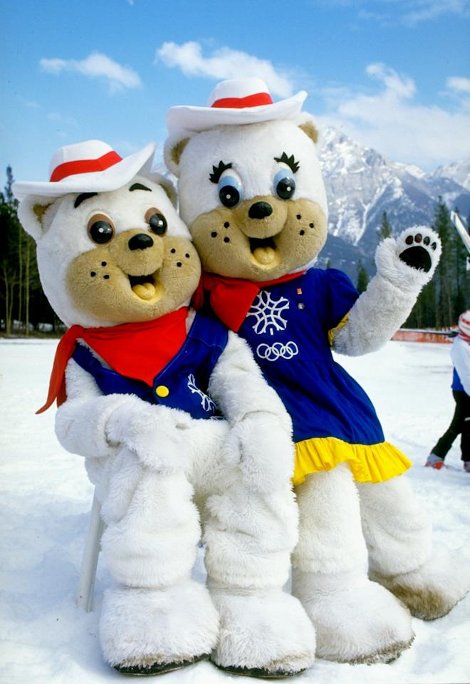 "1987:  Portrait of 1988 Winter Olympic Games mascots ""Hidy"" and ""Howdy"" during the World Cup in Calgary, Canada. \ Mandatory Credit: Mike  Powell/Allsport"