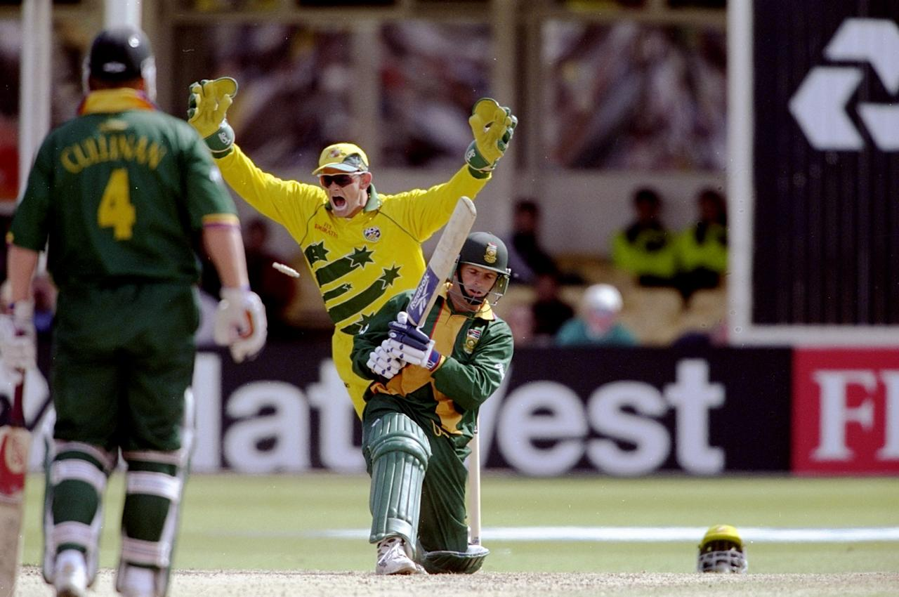 17 Jun 1999:  Gary Kirsten of South Africa is bowled during the World Cup semi-final against Australia at Edgbaston in Birmingham, England. The match finished a tie as Australia went through after finishing higher in the Super Six table. \ Mandatory Credit: Craig Prentis /Allsport