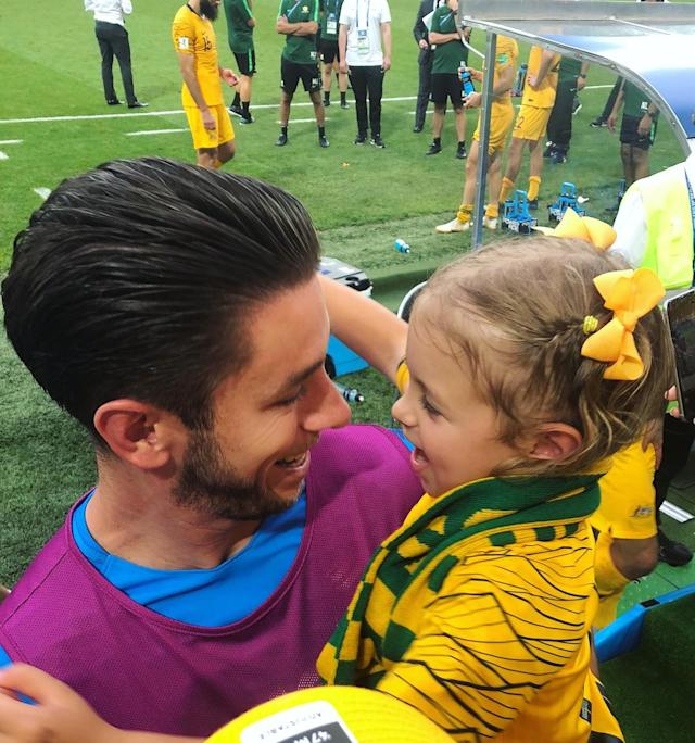 <p>Dani Jones, wife of Australia's Brad Jones posted this photo of Jones with his daughter. </p>