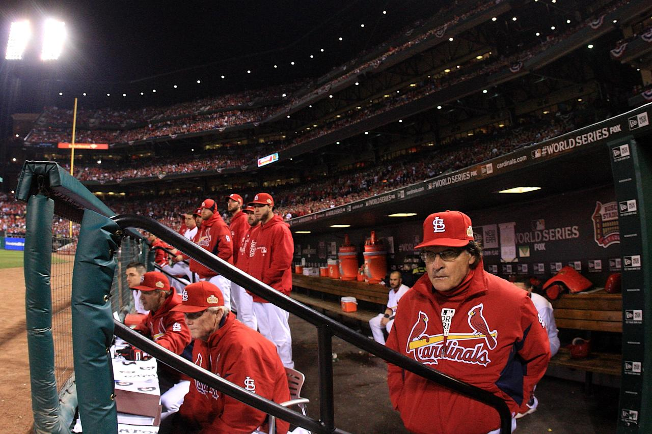 ST LOUIS, MO - OCTOBER 28: Manager Tony La Russa of the St. Louis Cardinals looks on from the dugout in the first inning during Game Seven of the MLB World Series against the Texas Rangers at Busch Stadium on October 28, 2011 in St Louis, Missouri.  (Photo by Jamie Squire/Getty Images)