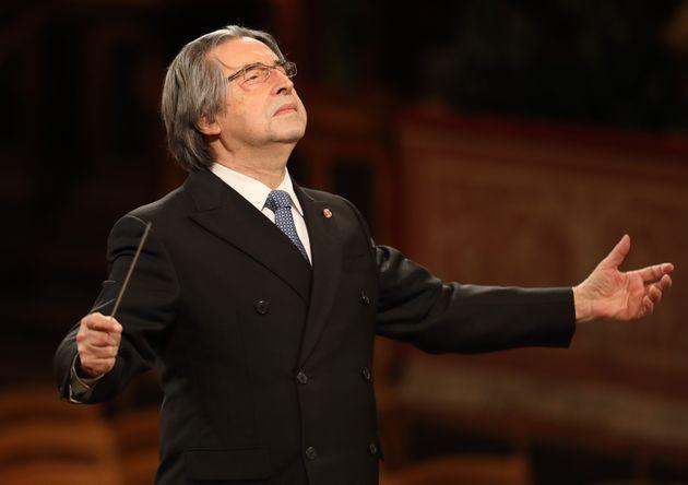 VIENNA, Jan. 1, 2021 -- Italian conductor Riccardo Muti conducts the Vienna Philharmonic during the 2021 Vienna Philharmonic New Year's Concert in Vienna, Austria, on Jan. 1, 2021. The New Year's Concert by Vienna Philharmonic took place in front of empty ranks in the