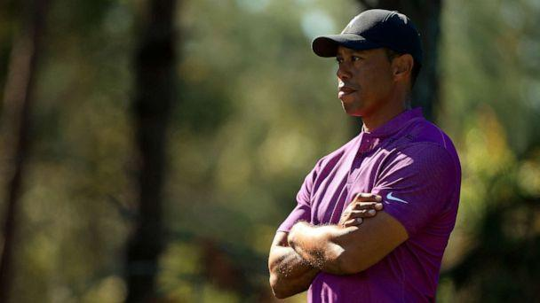 PHOTO: Tiger Woods looks on during the first round of the PNC Championship at the Ritz Carlton Golf Club, Dec. 19, 2020, in Orlando, Florida. (Mike Ehrmann/Getty Images, FILE)