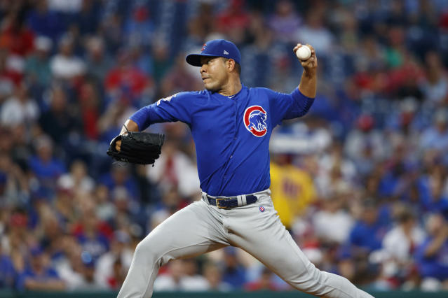 Chicago Cubs' Jose Quintana pitches during the second inning of a baseball game against the Philadelphia Phillies, Tuesday, Aug. 13, 2019, in Philadelphia. (AP Photo/Matt Slocum)