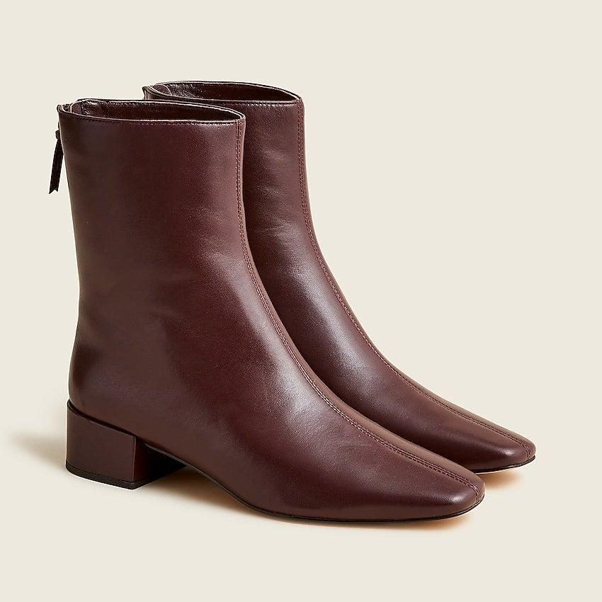 """<br><br><strong>J. Crew</strong> Roxie center-seam ankle boots in leather, $, available at <a href=""""https://go.skimresources.com/?id=30283X879131&url=https%3A%2F%2Fwww.jcrew.com%2Fp%2Fwomens%2Fcategories%2Fshoes%2Fboots%2Froxie-center-seam-ankle-boots-in-leather%2FBA736%3Fdisplay%3Dstandard%26fit%3DClassic%26color_name%3Dlight-caramel%26colorProductCode%3DBA736"""" rel=""""nofollow noopener"""" target=""""_blank"""" data-ylk=""""slk:J. Crew"""" class=""""link rapid-noclick-resp"""">J. Crew</a>"""
