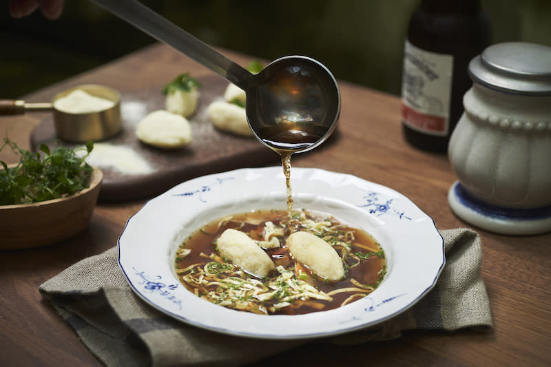 Beef Consomme with Semolina Dumplings. Photo: The Capitol Kempinski Hotel Singapore