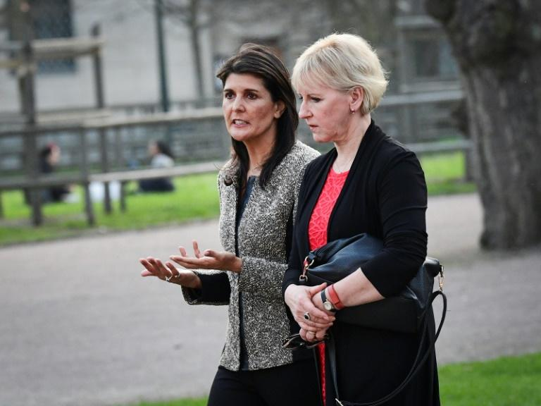 United States Ambassador to the United Nations Nikki Haley (L) and Sweden's Foreign Minister Margot Wallstrom are in Backakra