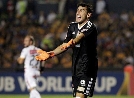FILE PHOTO: Soccer Football - Tigres v Club Sport Herediano- CONCACAF Champions League - Universitario stadium, Monterrey, Mexico - February 27, 2018 - Goalkeeper Nahuel Guzman of Tigres' gestures. REUTERS/Daniel Becerril
