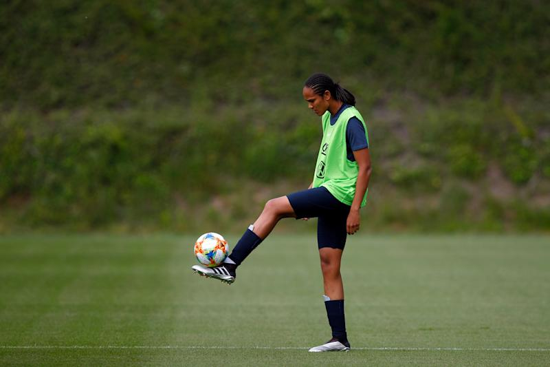 France women's national soccer team player Wendie Renard attends a training session ahead of the FIFA Women's World Cup in France at the Clairefontaine training center, outside Paris, France, Wednesday, May 29, 2019. France will compete in Group A at the 2019 FIFA Women's World Cup with South Korea, Norway and Nigeria. (AP Photo/Francois Mori)