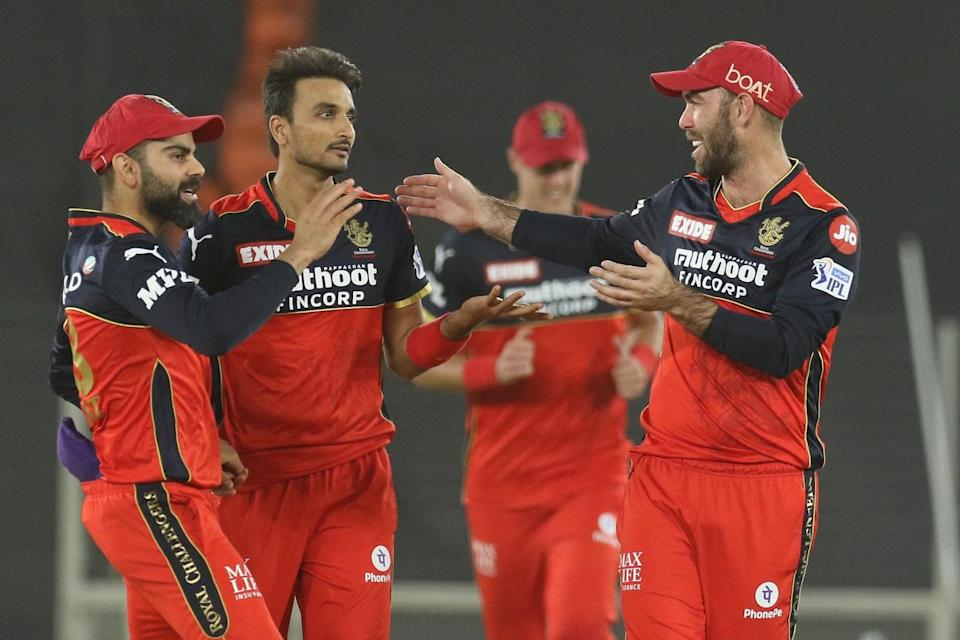 Harshal Patel of Royal Challengers Bangalore celebrates the wicket of Prithvi Shaw