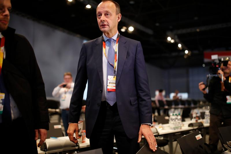 German conservative Christian Democratic Union (CDU) party's politician Friedrich Merz arrives for the start of the party's annual congress on November 22, 2019 in Leipzig, eastern Germany. - Angela Merkel's Christian Democrats (CDU) open their two-day party conference amid mutinous grumblings over the leadership of party chairman Annegret Kramp-Karrenbauer. (Photo by Odd Andersen / AFP) (Photo by ODD ANDERSEN/AFP via Getty Images)