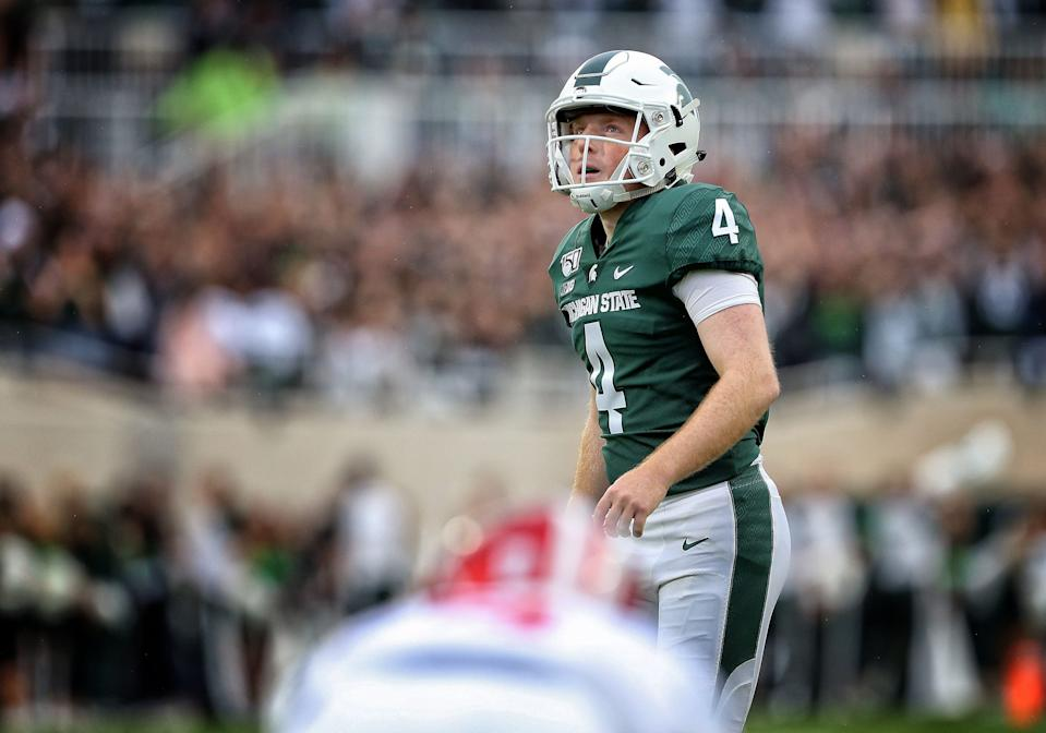 Michigan State kicker Matt Coghlin prepares to kick a field goal, which he missed, during the first quarter against Indiana at Spartan Stadium, Sept. 28, 2019.
