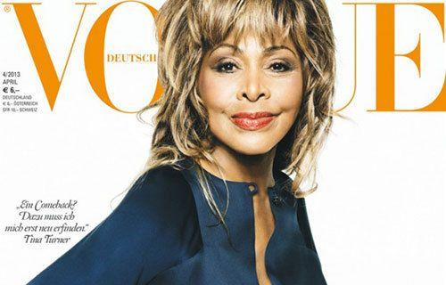 Tina Turner appears on the April cover of Vogue Germany.