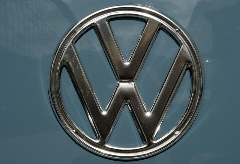 The Volkswagen logo is pictured at the booth of German carmaker Volkswagen at the IAA truck show in Hanover