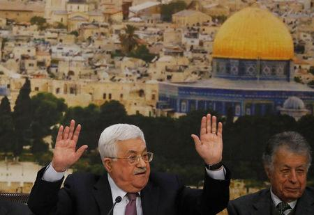 FILE PHOTO: Palestinian President Mahmoud Abbas speaks during the meeting of the Palestinian Central Council in the West Bank city of Ramallah January 14, 2018. REUTERS/Mohamad Torokman/File Photo