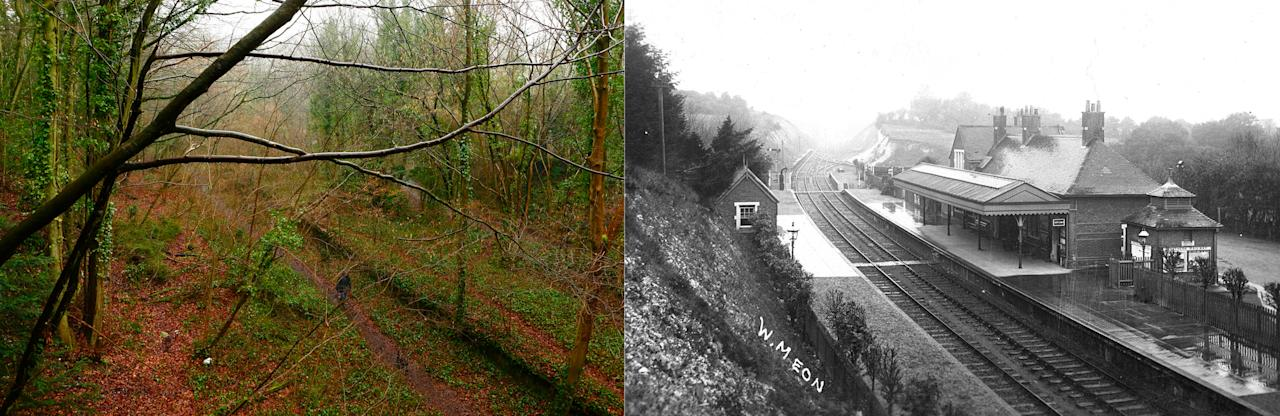 Then and now composite photo showing the site of the shut-down former train station at West Meon in Hampshire.