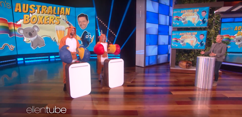 Margot Robbie and Chris Hemsworth battle it out in a game quiz named Australia Boxers. Source: Ellen