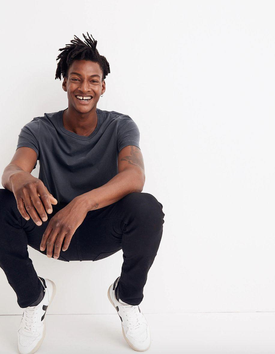 """You might not have realized that Madewell's has a men's section. These are skinny jeans, but they are designed with all the comfort of stretch. And thesejeans have a coveted """"best-seller"""" label on them. <a href=""""https://fave.co/305HtHk"""" target=""""_blank"""" rel=""""noopener noreferrer""""><strong>Find this pair at Madewell</strong></a><strong>.</strong>"""