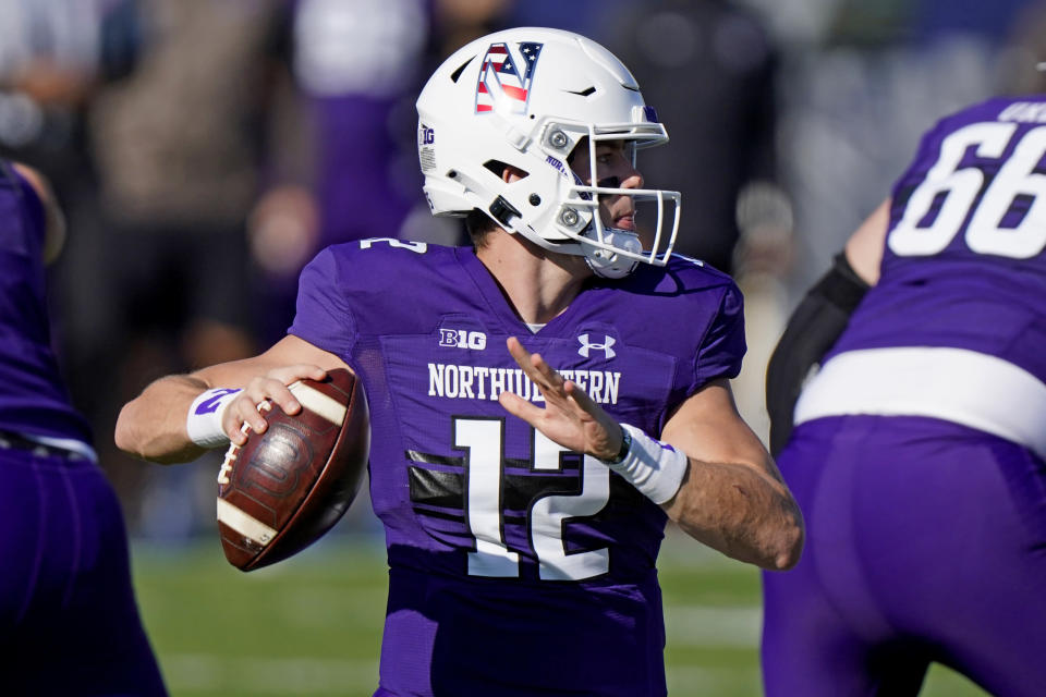 Northwestern quarterback Peyton Ramsey throws a pass against Nebraska during the first half of an NCAA college football game in Evanston, Ill., Saturday, Nov. 7, 2020. (AP Photo/Nam Y. Huh)