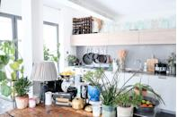 """<p>""""The kitchen is not how we would choose to design it ourselves, but it is an amazing space with extremely high ceilings and loads of natural light,"""" says Angus. """"We've filled it with lots of plants which has helped us fall in love with it a little more. We have a huge collection of vintage vases, which we originally bought for our wedding, which you can see displayed along the top of the kitchen cabinets and the exposed steel beam. It's a bit of a job to stop them getting too dusty up there, but it's worth it when they glint in the sunlight.""""</p>"""