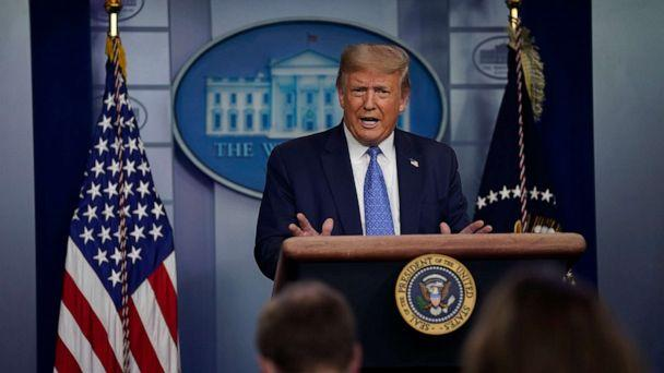 PHOTO: President Donald Trump speaks during a news conference at the White House, July 22, 2020, in Washington. (Evan Vucci/AP)