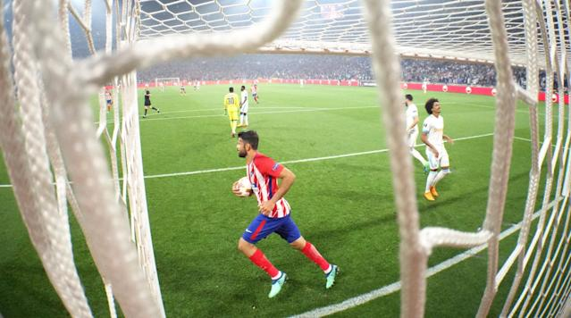 Soccer Football - Europa League Final - Olympique de Marseille vs Atletico Madrid - Groupama Stadium, Lyon, France - May 16, 2018 Atletico Madrid's Diego Costa retrieves the ball after Antoine Griezmann (not pictured) scored their first goal REUTERS/Pawel Kopczynski