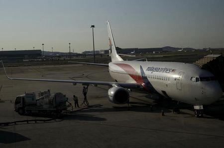 A Malaysia Airlines plane on the tarmac at Kuala Lumpur International Airport in Sepang, Malaysia