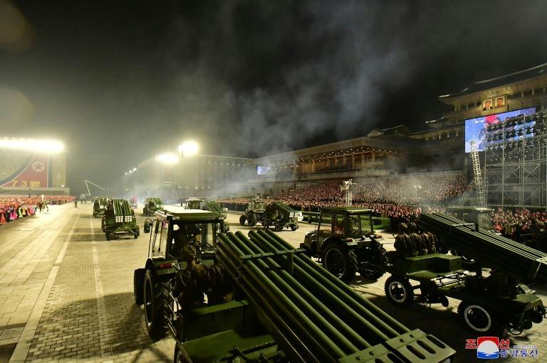 The biggest weapons on display at the latest North Korean parade those towed by tractors (AFP/STR)