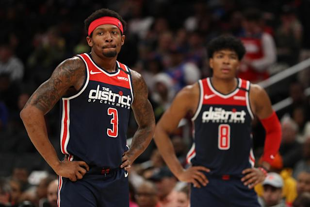 Bradley Beal's injury opens the door for DFS players to select the services of someone like Rui Hachimura. (Photo by Patrick Smith/Getty Images)
