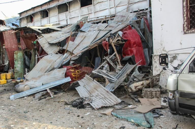 Aftermath of a suicide bombing at the Afrik Hotel in Mogadishu on February 1 that killed at least five people, including a former top general