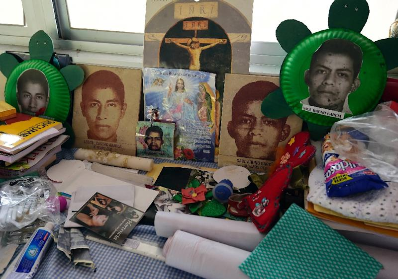View of the altar made for her son by Nicanora Garcia, mother of missing student Saul Bruno Garcia, at the Raul Isidro Burgos rural teachers' college in Ayotzinapa, Mexico on September 21, 2016 (AFP Photo/Alfredo Estrella)