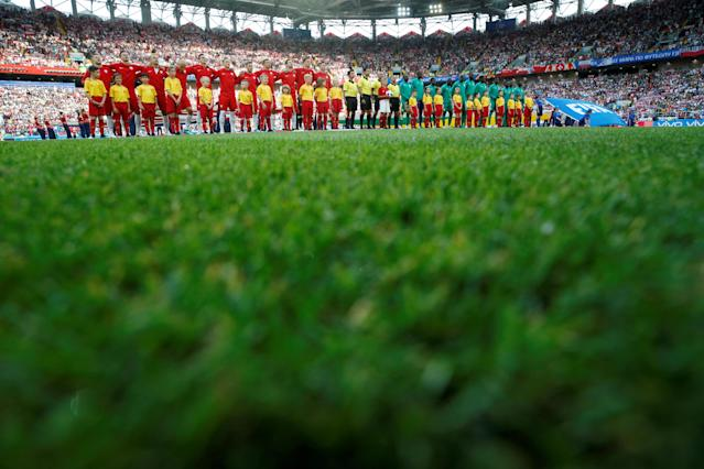 Soccer Football - World Cup - Group H - Poland vs Senegal - Spartak Stadium, Moscow, Russia - June 19, 2018 Teams line up during the national anthems REUTERS/Carl Recine TPX IMAGES OF THE DAY