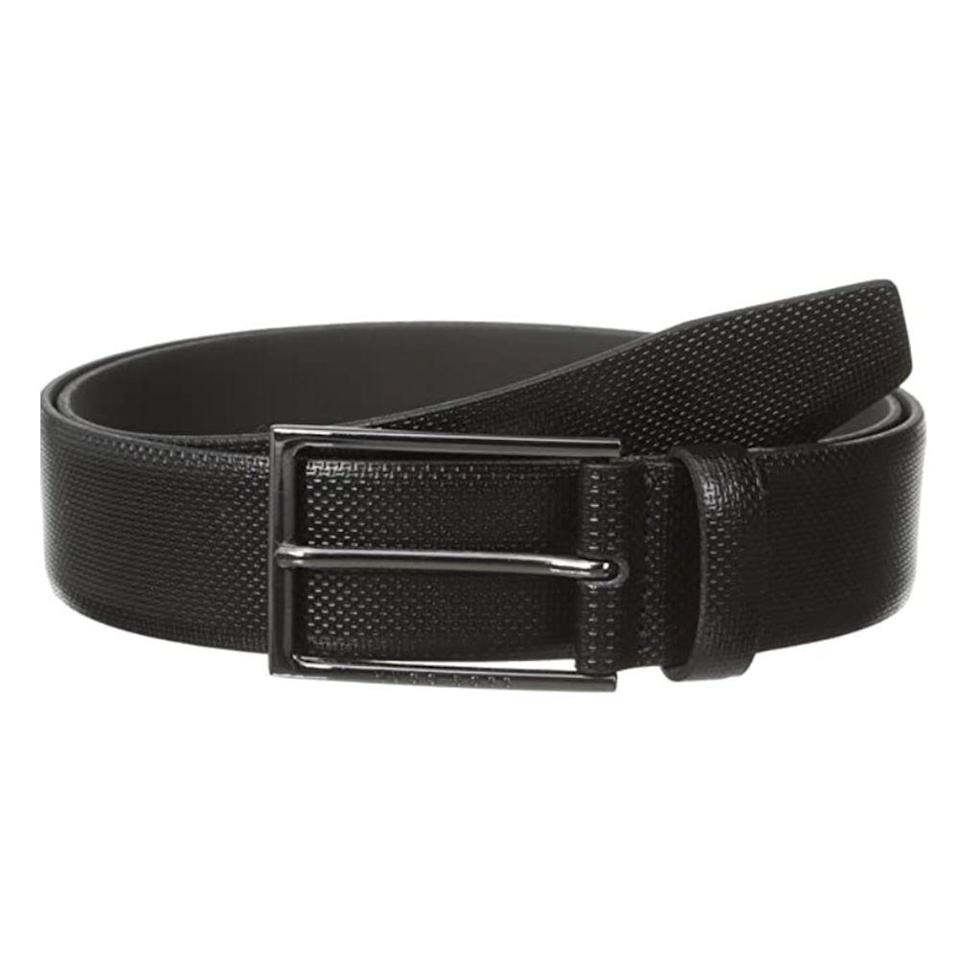 """<p><strong>Hugo Boss</strong></p><p>amazon.com</p><p><strong>$102.74</strong></p><p><a href=""""https://www.amazon.com/dp/B00M0HRTVO?tag=syn-yahoo-20&ascsubtag=%5Bartid%7C2139.g.36521961%5Bsrc%7Cyahoo-us"""" rel=""""nofollow noopener"""" target=""""_blank"""" data-ylk=""""slk:BUY IT HERE"""" class=""""link rapid-noclick-resp"""">BUY IT HERE</a></p><p>A polished gunmetal buckle is the perfect complement to black leather for a monochrome, contemporary look. Whether you like to keep it casual or are looking for a dressier, work-appropriate accessory, this belt goes with just about everything. </p>"""
