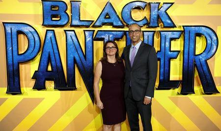 Executive Producers Victoria Alonso and Nate Moore arrive at the premiere of the new Marvel superhero film 'Black Panther' in London, Britain February 8, 2018. REUTERS/Peter Nicholls