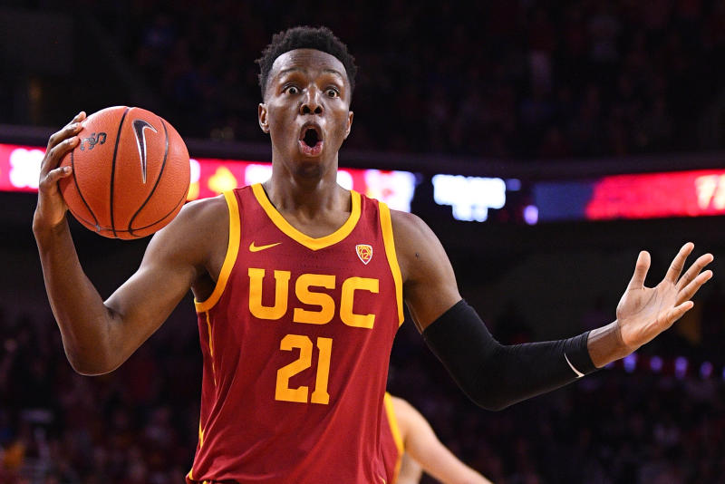 USC Trojans forward Onyeka Okongwu (21) reacts to a foul call during the college basketball game between the UCLA Bruins and the USC Trojans on March 7, 2020 at Galen Center