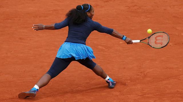 FILE PHOTO: Tennis - French Open Womens Singles Semifinal match - Roland Garros - Serena Williams of the U.S. vs Kiki Bertens of the Netherlands - Paris, France - 03/06/16 Williams reutrns the ball. REUTERS/Gonzalo Fuentes Picture Supplied by Action Images/File Photo