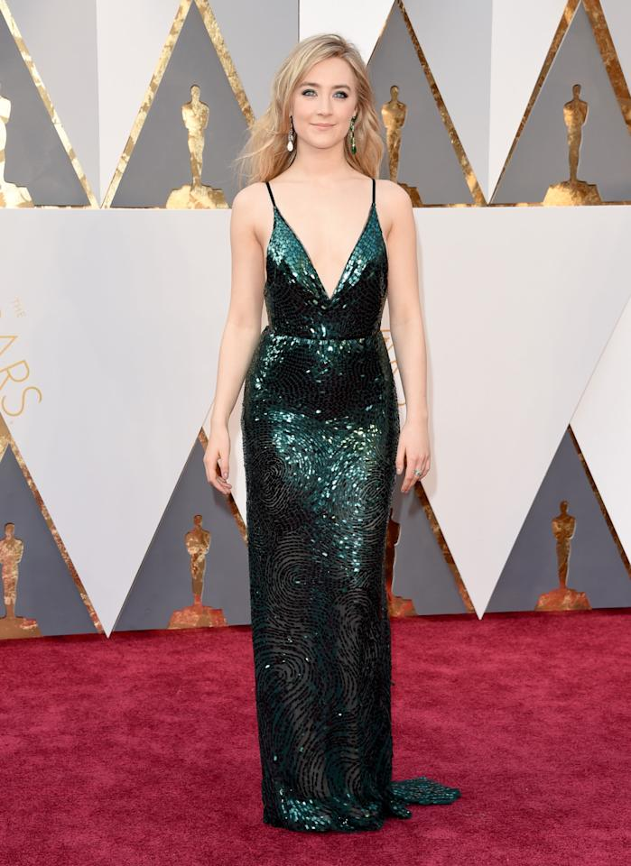 <p>The stunning paid homage to her Irish heritage in this incredible emerald gown, which was a custom creation by Calvin Klein Collection. <i>(Photo by Jason Merritt/Getty Images)</i></p>