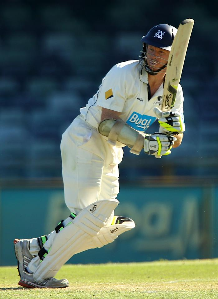 PERTH, AUSTRALIA - SEPTEMBER 30:  Chris Rogers of the Bushrangers bats during day one of the Sheffield Shield match between the Western Australia Warriors and the Victorian Bushrangers at the WACA on September 30, 2012 in Perth, Australia.  (Photo by Paul Kane/Getty Images)