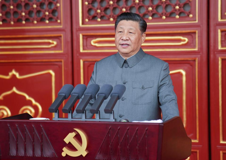 President Xi Jinping delivers a speech at a ceremony marking the centenary of the Communist Party on 1 July, 2021 (AP)