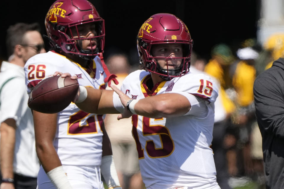 Iowa State quarterback Brock Purdy (15) prepares to pass during team warmups before an NCAA college football game against Baylor, Saturday, Sept. 25, 2021, in Waco, Texas. (AP Photo/Jim Cowsert)